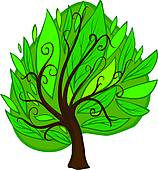 Clipart of Big cartoon hazel Tree. Isolated k21117724.