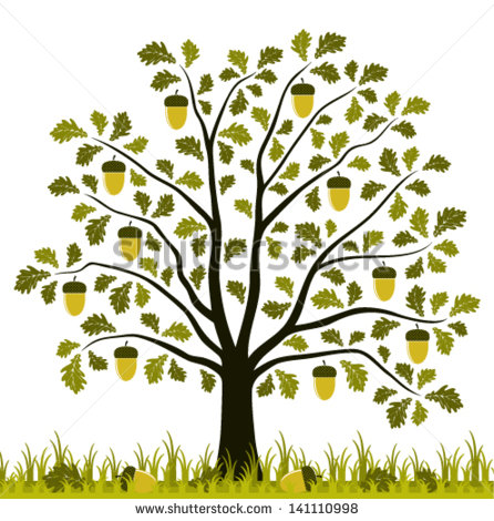 Vector Oak Tree In Grass Isolated On White Background.