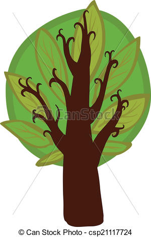 Vector Illustration of Big cartoon hazel Tree. Isolated.