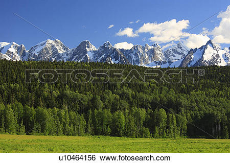 Stock Images of View of the Seven Sisters Mountain Range between.