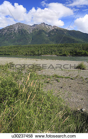 Pictures of Skeena river near Hazelton, British Columbia. Rocher.