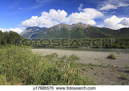 Stock Image of Skeena river near Hazelton, British Columbia.