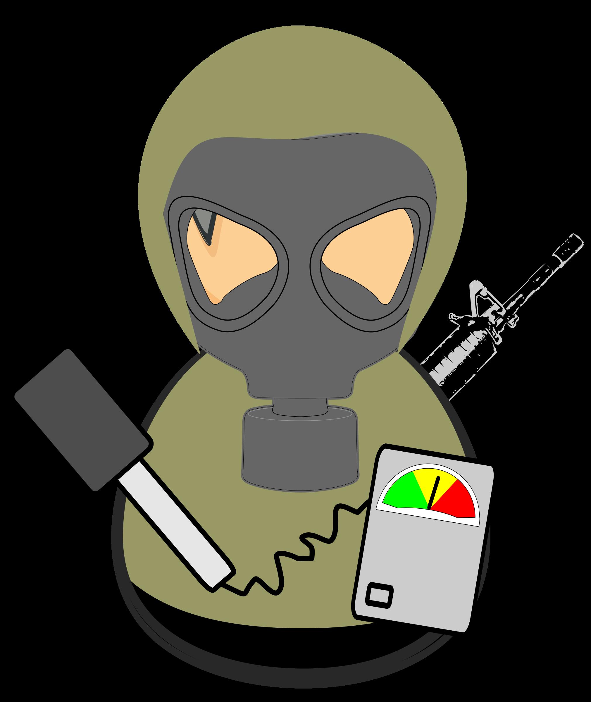 Hazmat Military Worker vector clipart image.