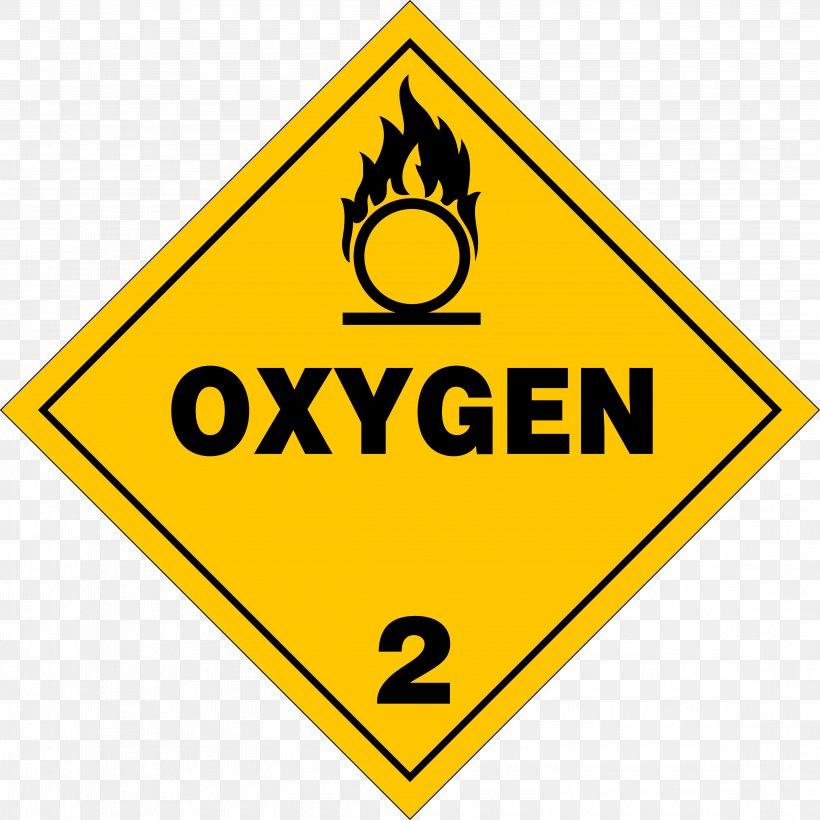 HAZMAT Class 2 Gases Oxygen Placard Dangerous Goods, PNG.