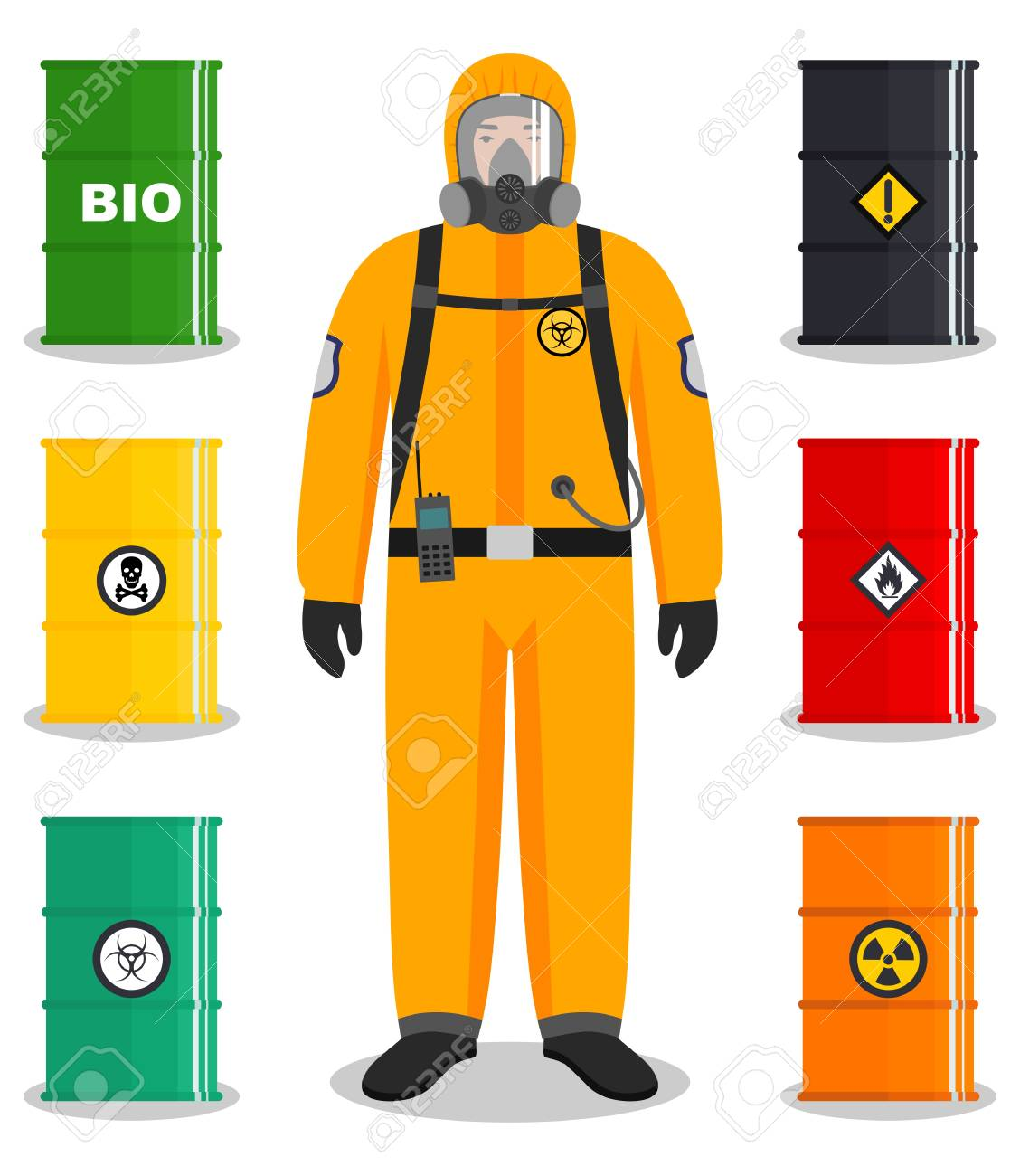 Industry concept. Detailed illustration of worker in protective...