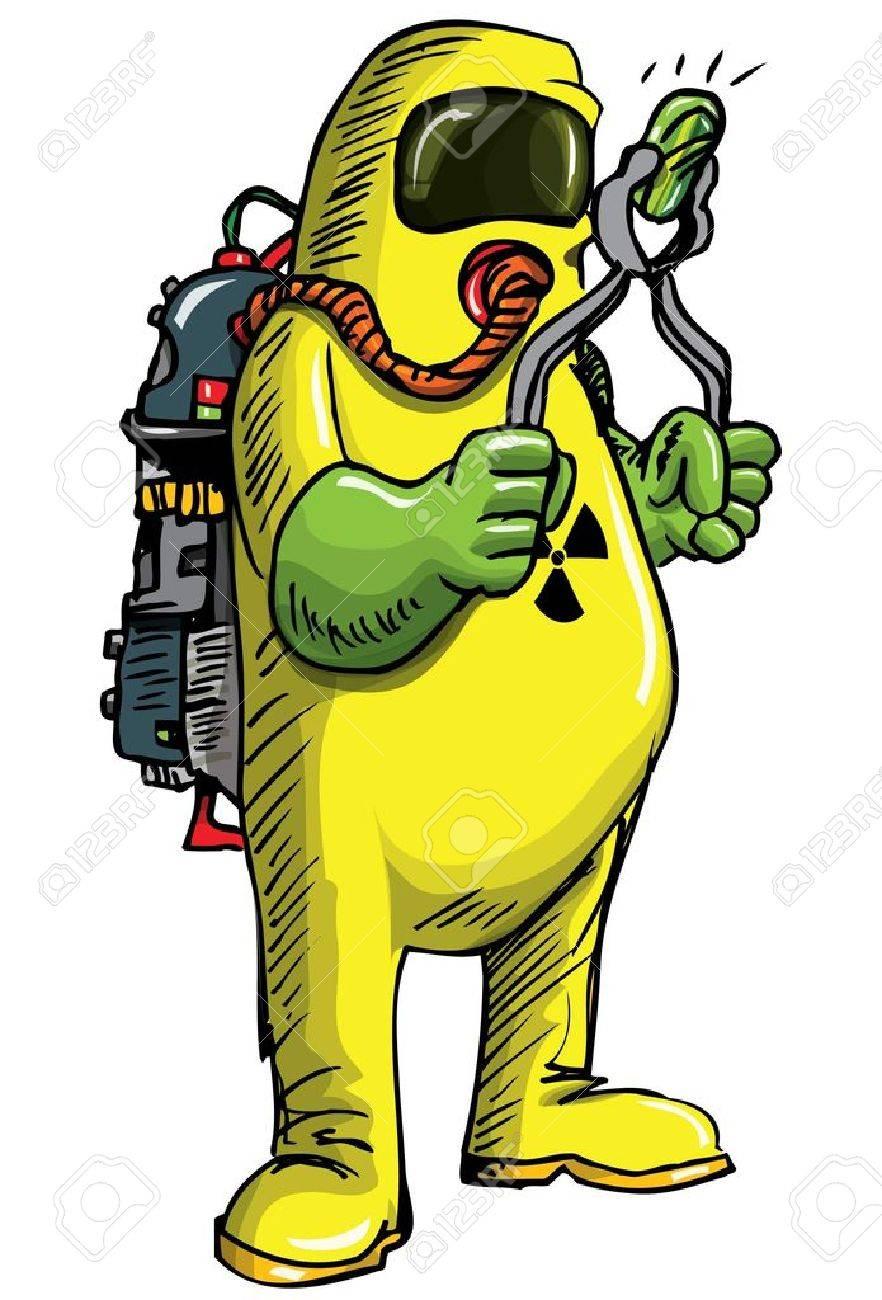 Man in HAZMAT suit handeling something radioactive. Isolated...