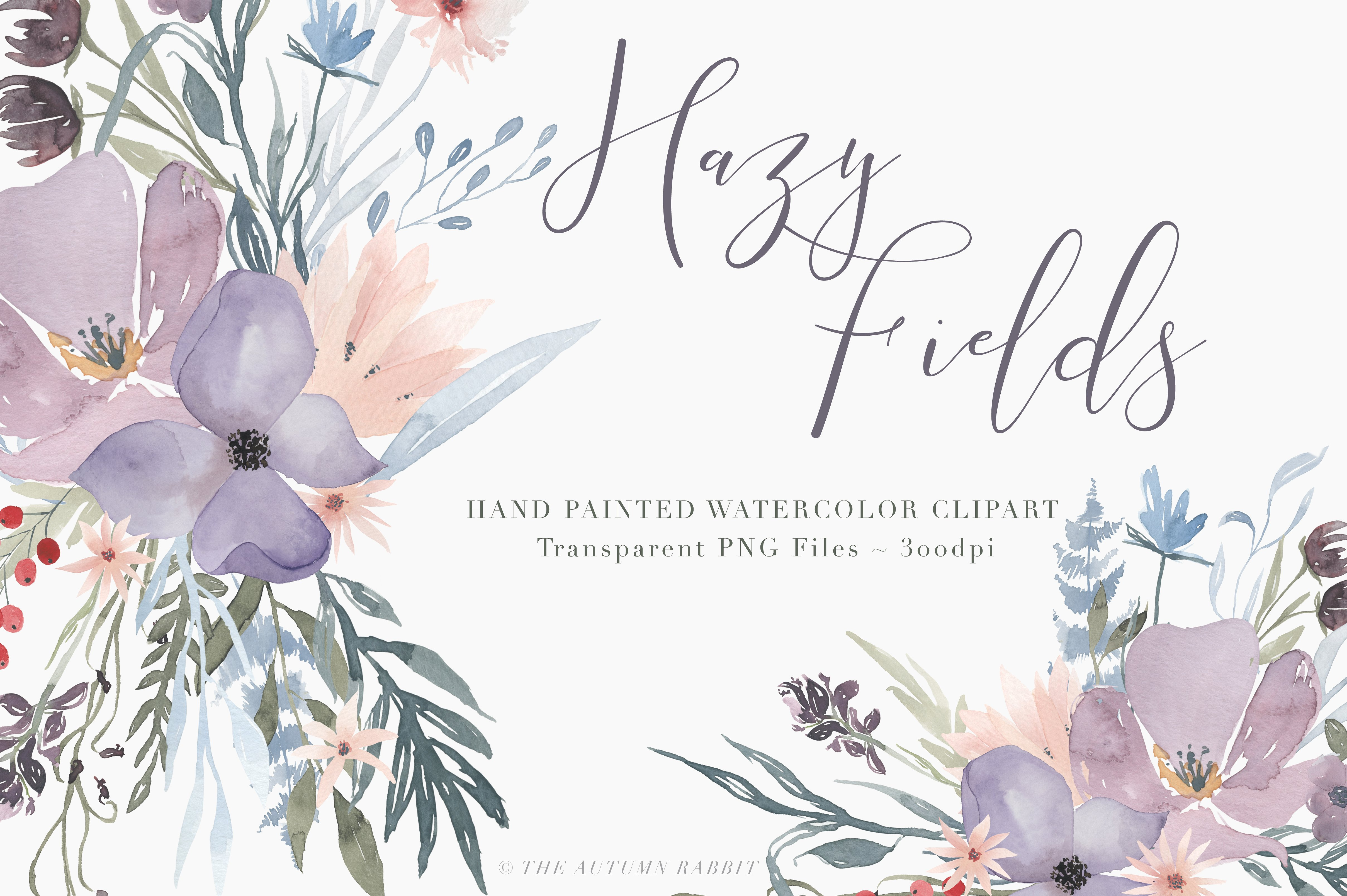 Watercolor Floral Clipart.