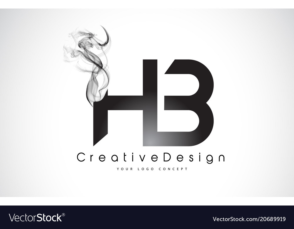 Hb letter logo design with black smoke.
