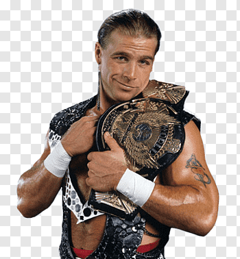 HBK holding WWE belt, Shawn Michaels Belt free png.