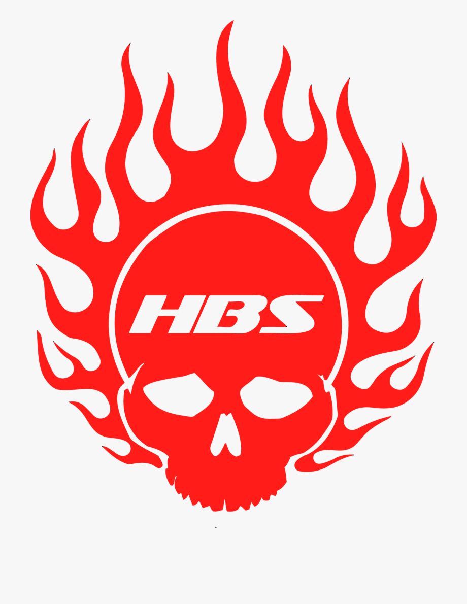 Hbs Flaming Skull Decal.