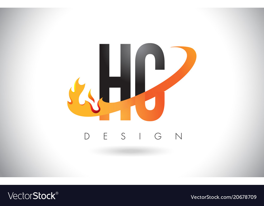 Hc h c letter logo with fire flames design and.