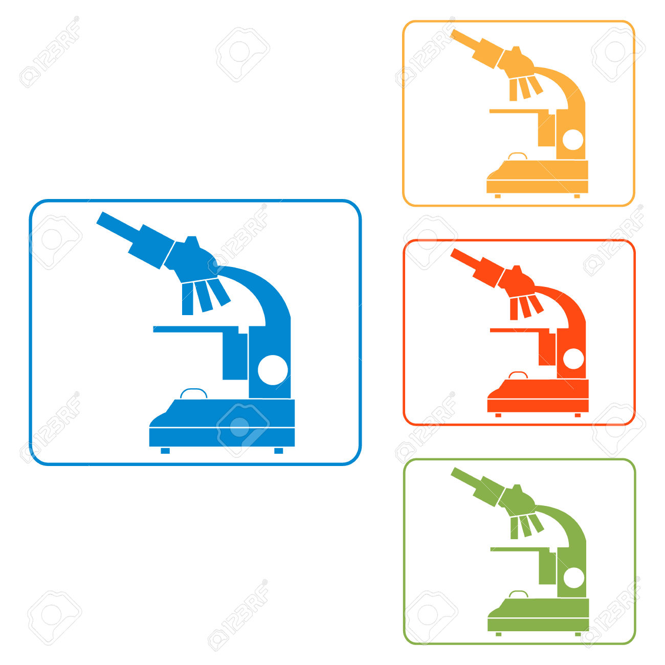 Stylized Vector Icons Of Microscope In Different Colors.