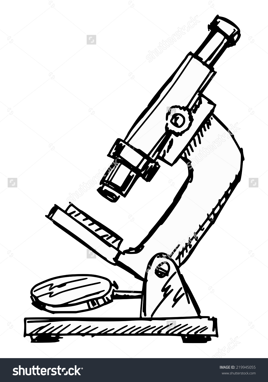 Hand Drawn Sketch Illustration Microscope Stock Vector 219945055.