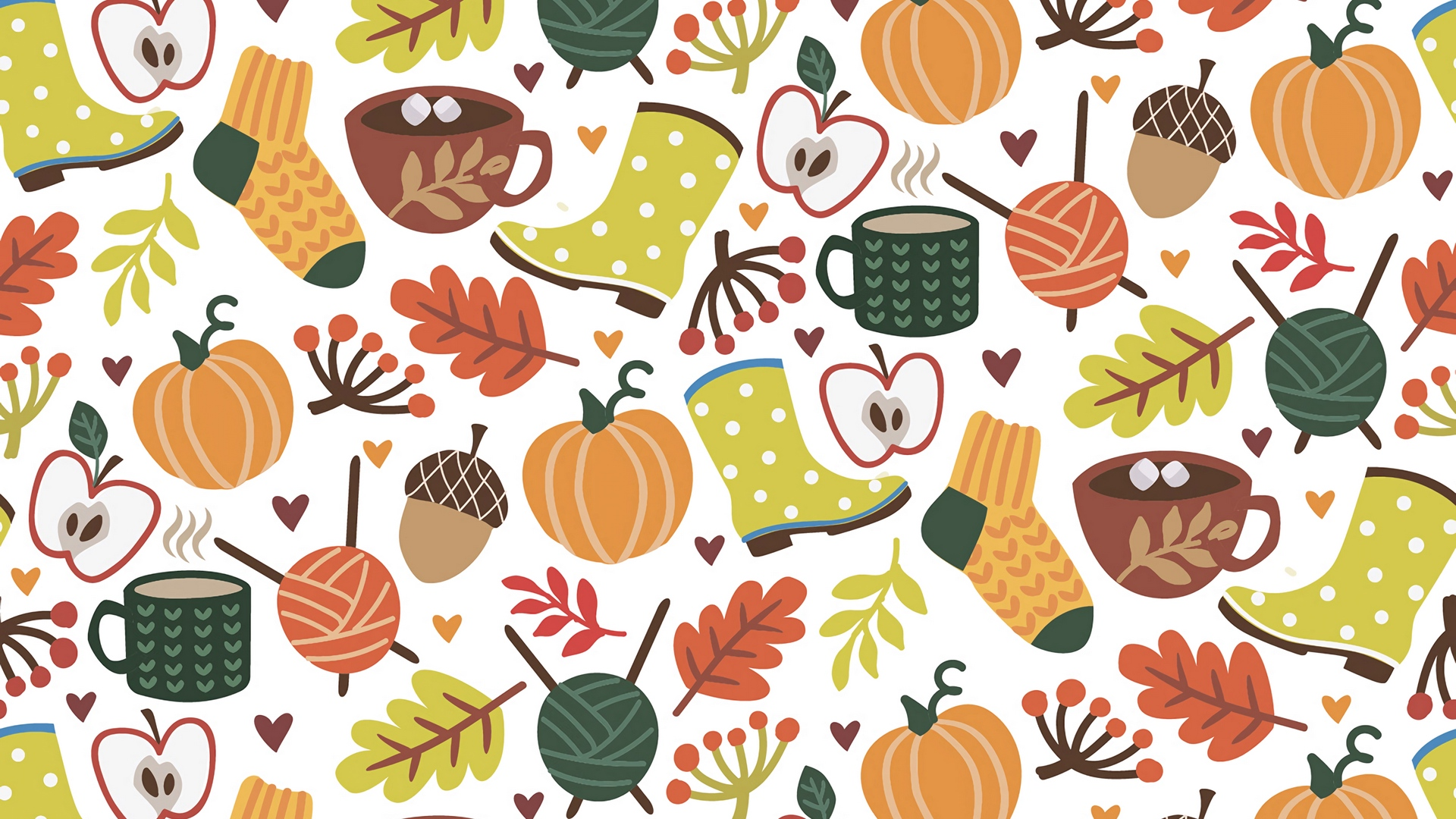 Download wallpaper 1920x1080 autumn, pattern, comfort, socks.