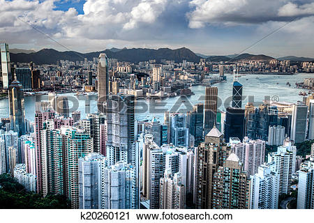 Clipart of Victoria Harbor in Hong Kong Taken Atop Victoria Peak.
