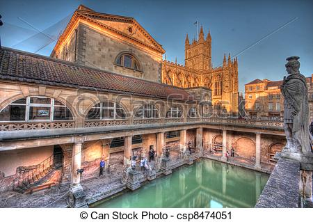 Stock Photography of HDR view of the Roman Baths.