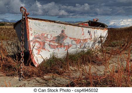 Stock Photo of Land locked Boat Sky HDR right.