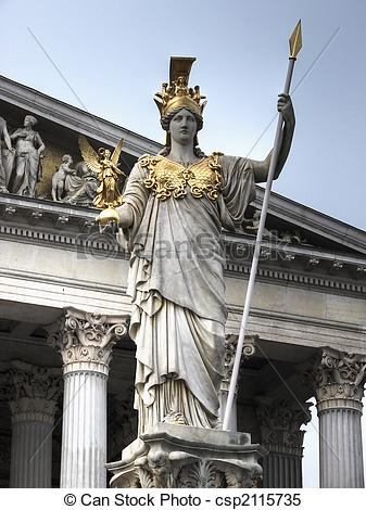 Stock Images of Athena statue Vienna hdr.