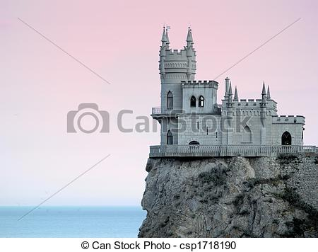Stock Photography of Swallow\'s Nest Castle Sideview in Sunset HDR.