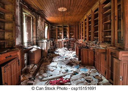 Stock Photographs of Abandoned library (HDR) csp15151691.
