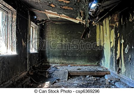 Stock Image of old abandoned burned house inside hdr.