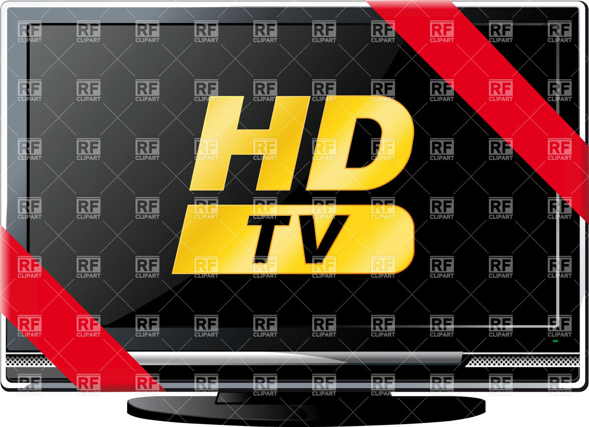 Modern LCD HD TV with red ribbon Vector Image #25242.
