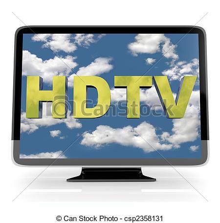 Clipart of HDTV Flatscreen Display on White.