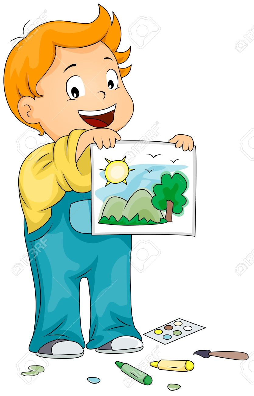 Illustration Of A Kid Showing The Picture He Drew Stock Photo.