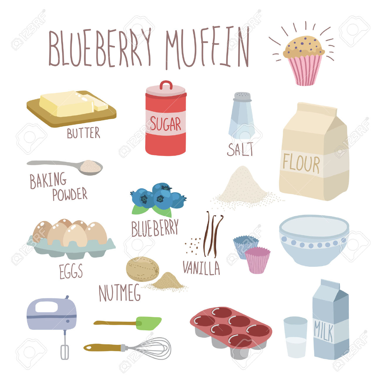 Blueberry Muffin Recipe Royalty Free Cliparts, Vectors, And Stock.