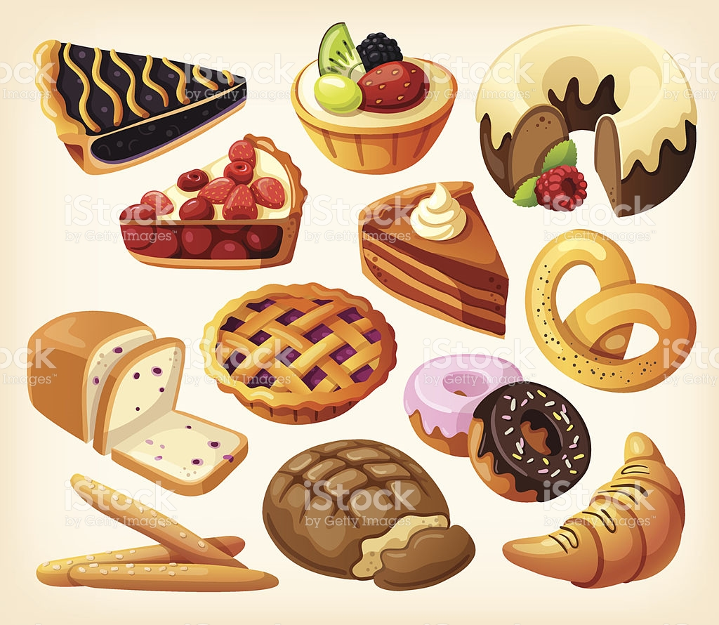 Set Of Pies And Flour Products From Bakery stock vector art.