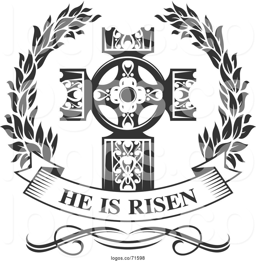 Logo of Black and White Cross and He Is Risen Text by Vector.
