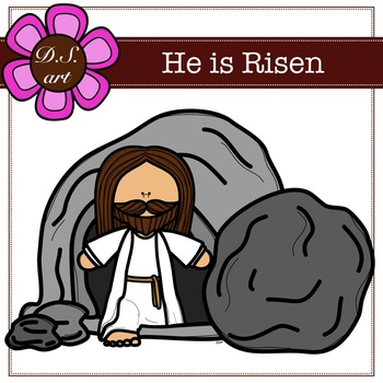 He is Risen Digital Clipart (color and black&white).