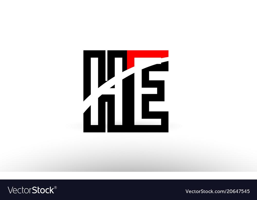 Black white alphabet letter he h e logo icon.