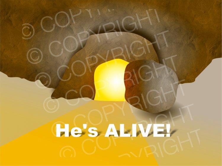 He\'s Alive Empty Easter Tomb Prawny Illustration.
