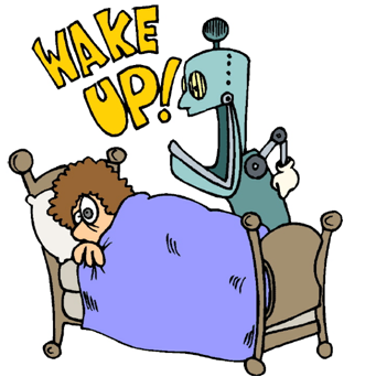 Clip art of a person waking up.