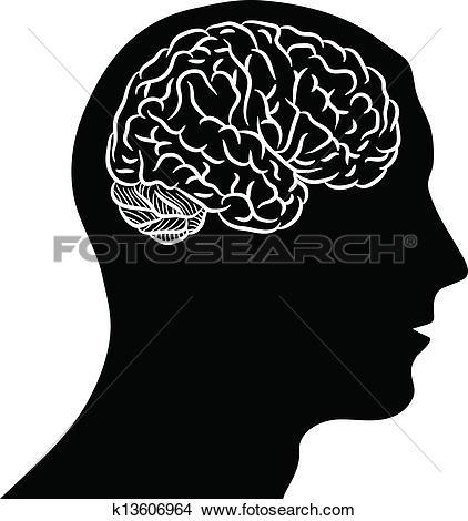Clipart of Brain of gears silhouette k13605921.
