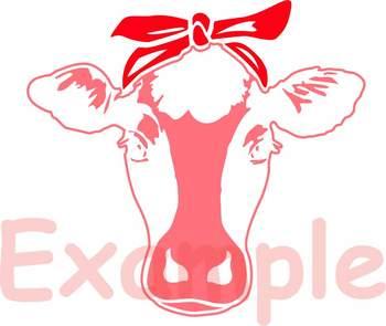 Cow Head whit Bandana Clipart Cutting Files cowboy western Farm Milk 890S.