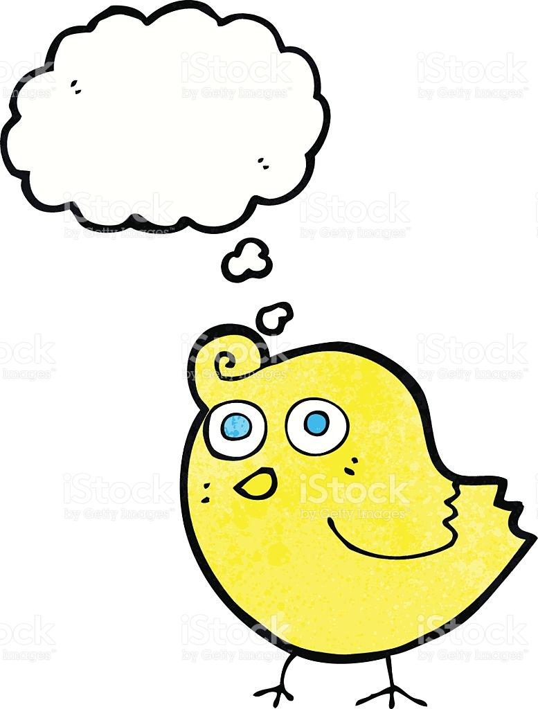 Funny Cartoon Bird With Thought Bubble stock vector art 531796231.