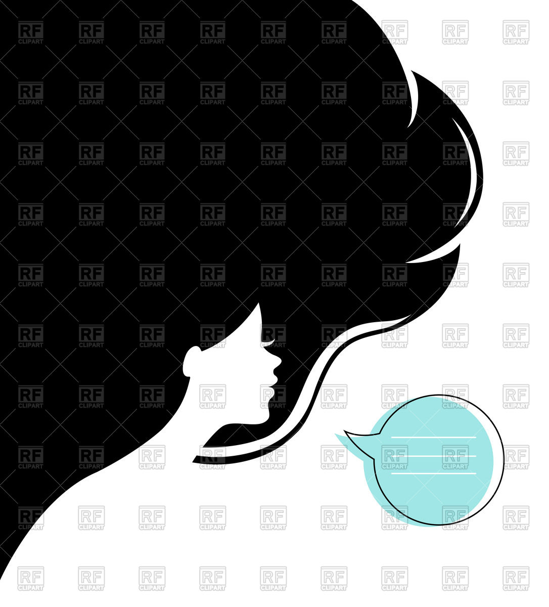 Woman's head silhouette and speech bubble Vector Image #59241.