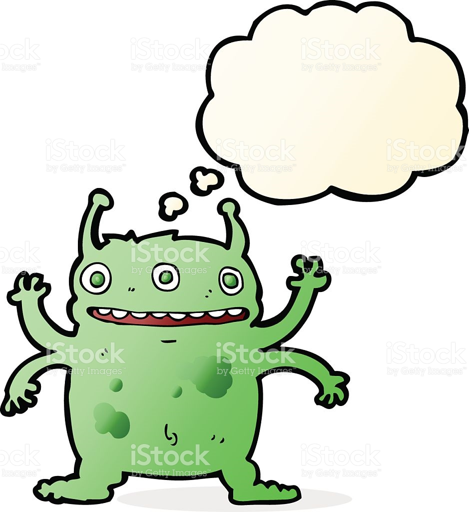 Cartoon Alien Monster With Thought Bubble stock vector art.