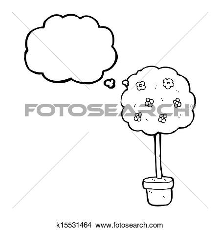 Drawings of tree with thought bubble cartoon k15531464.