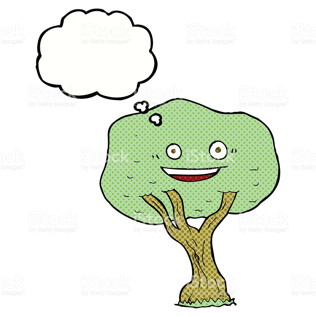 Cartoon Tree With Thought Bubble stock vector art 535028643.