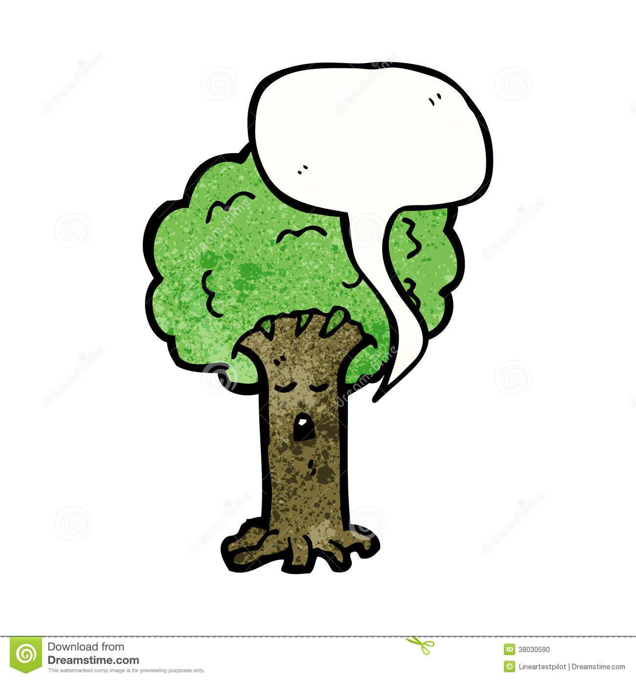 Cartoon Tree With Speech Bubble Stock Photo.