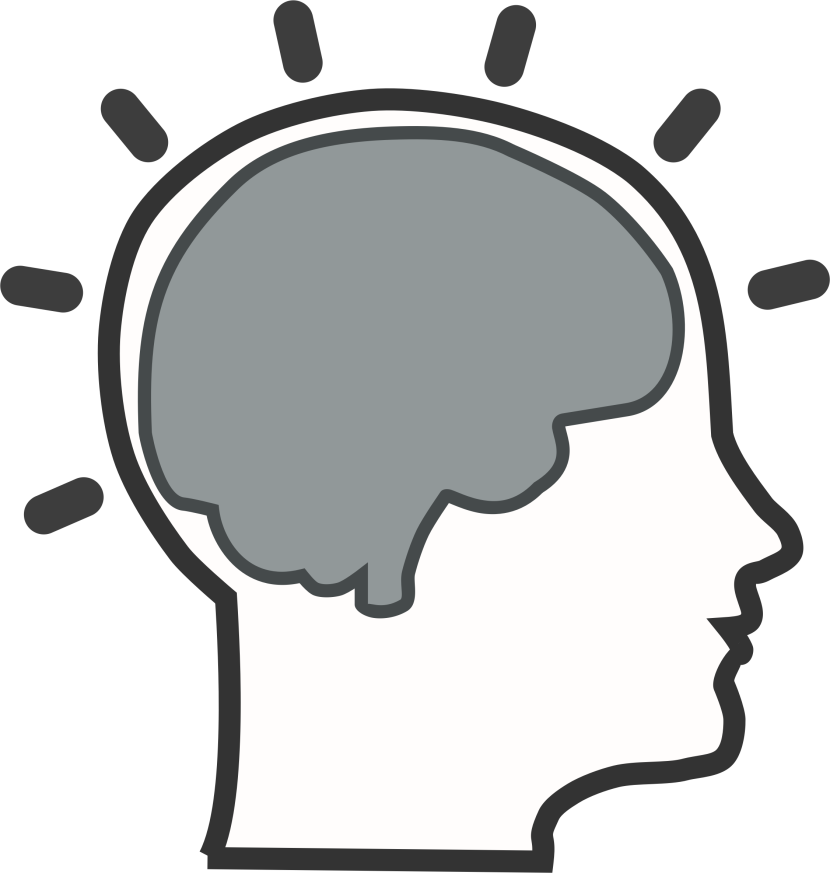 Head with brain clipart.
