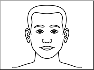 Clip Art: Parts of the Body: Head B&W Unlabeled I abcteach.
