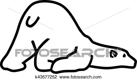 Polar bear lying head down Clipart.