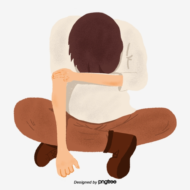 A Man Sitting With His Head Down, Character, Bow, Cartoon PNG.