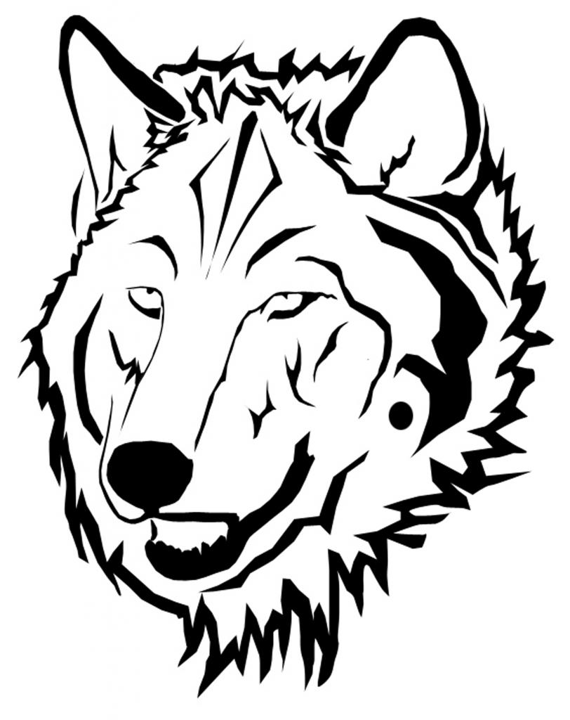 Wolf Head Line Drawing.