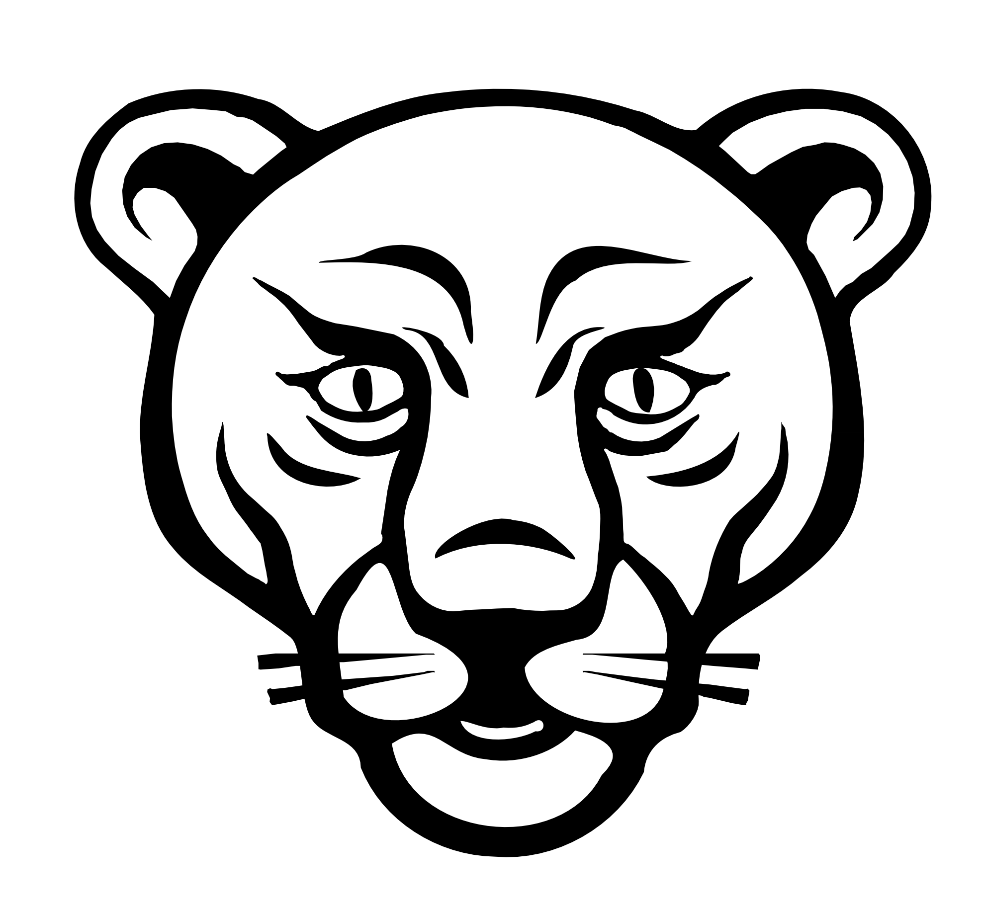 Lion face drawing clipart.