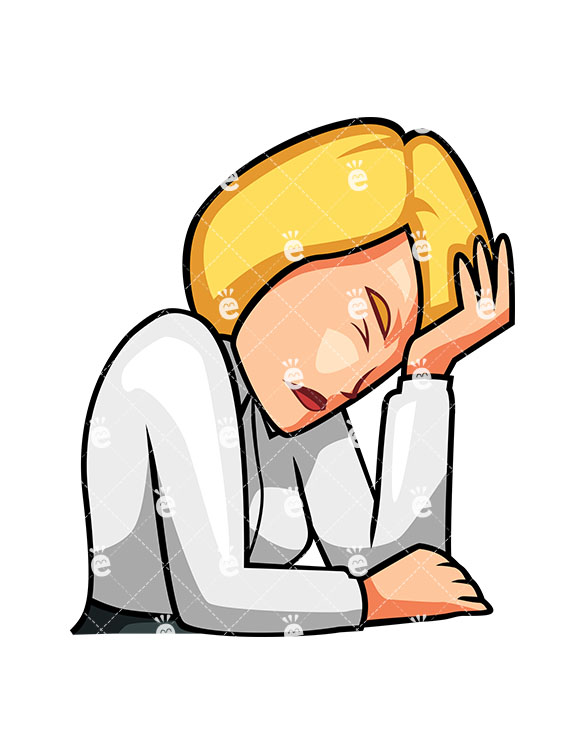 An Businesswoman At Her Desk With Head In Hand » Clipart Station.